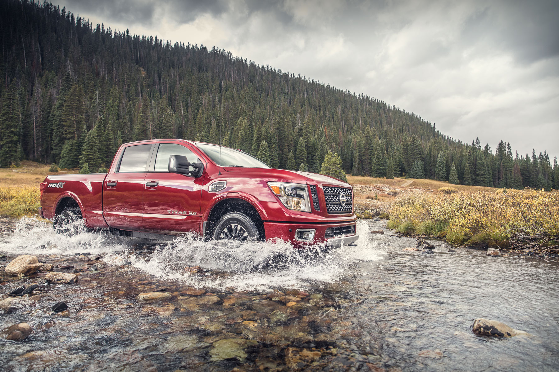 Automotive Photography - 2018 Nissan Titan XD crossing river